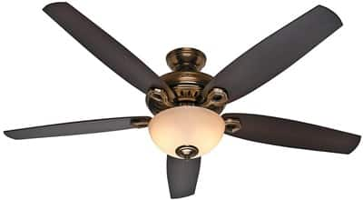 Hunter 54061 Valerian 60-Inch Bronze Patina Ceiling Fan with Dark Walnut Roasted Walnut Blades and a Light Kit