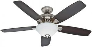 Hunter Indoor Ceiling Fan with light and pull chain control - Banyan 52 inch, Brushed Nickel, 53175