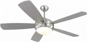 Monte Carlo 5DI52BSD-L Discus 52in Ceiling Fan with Light and Pull Chain, 5 Blades, Brushed Steel