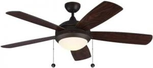 Monte Carlo 5DIC52RBD-V1 Discus Classic 52in Ceiling Fan with Advanced LED Light and Pull Chain, 5 Blades, Roman Bronze