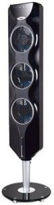 Ozeri 3x Tower Fan (44in) with Passive Noise Reduction Technology, Black with Chrome Accent