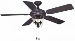 Turn of the Century Lanyard 52in Oil-Rubbed Bronze Traditional Damp-Rated Ceiling Fan