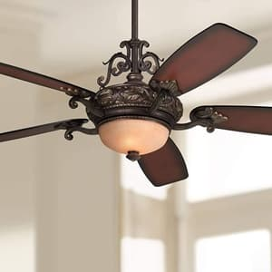 56in Casa Esperanza Vintage Ceiling Fan with Light LED Dimmable Remote Control Bronze Gold Shaded Teak Blades for Living Room Kitchen Bedroom Family Dining - Casa Vieja